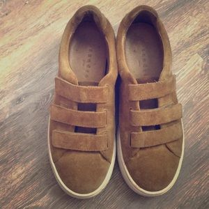 Sandro Suede Camel colored shoes with Velcro